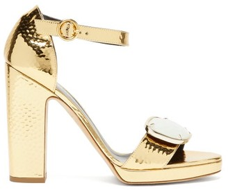 Rupert Sanderson Soraya Gemstone-buckle Leather Sandals - Gold