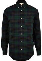 River Island MensGreen casual flannel check shirt
