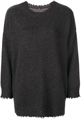R 13 boxy distressed sweater