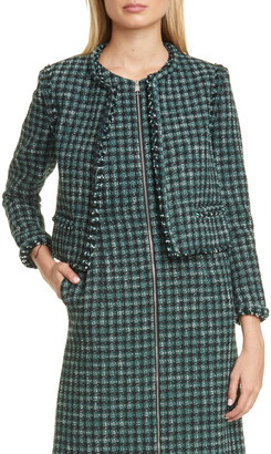 BOSS Johella Modern Tweed Cotton Blend Jacket