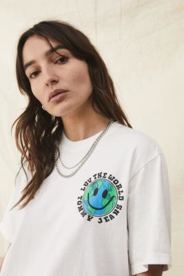 Tommy Hilfiger Luv The World White Globe Logo T-Shirt - White XS at Urban Outfitters