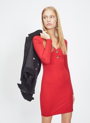 Miss Selfridge Red Button Ribbed Bodycon Dress