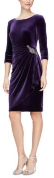 Alex Evenings Velvet Ruched-Side Scoop-Back Dress