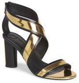 Balmain Metallic Leather Crisscross Sandals