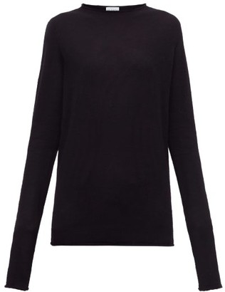Raey Sheer Raw-edge Crew-neck Cashmere Sweater - Navy