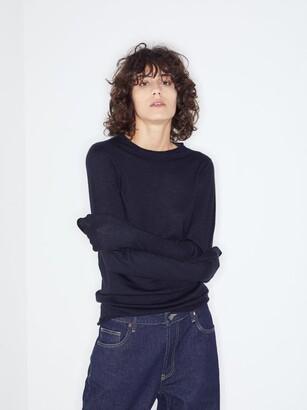Raey Sheer Raw-edge Crew-neck Cashmere Sweater - Womens - Navy