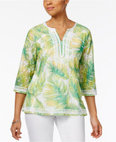 Alfred Dunner Bahama Bays Leaf-Print Tunic