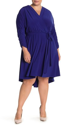Brinker & Eliza Surplice Ruched Sleeve High/Low Dress (Plus Size)
