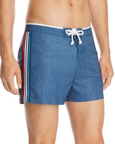 Original Penguin Athletic Side-Stripe Swim Trunks