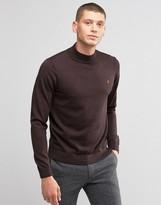 Farah Sweater In Merino Wool With Turtleneck In Slim Fit Bordeaux