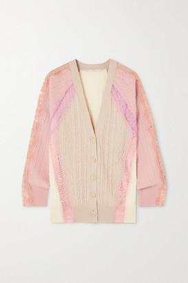 Stella McCartney Effortless Lace-trimmed Cable-knit Wool Cardigan - Beige