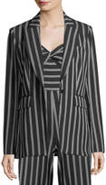 Veronica Beard Petra Striped One-Button Jacket