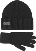 DSQUARED2 Black Wool and Cashmere Set of Gloves & Hat