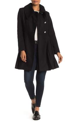 GUESS Solid Button Front Fit & Flare Coat