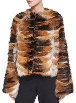 Rosetta Getty Bell-Sleeve Chubby Fox Fur Coat, Brown/Red