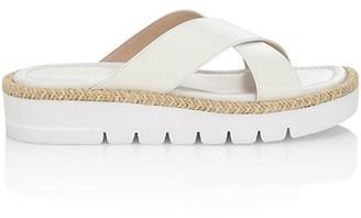 Stuart Weitzman Roza Lift Lacquered Leather Platform Slide Sandals