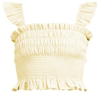 Loup Charmant Smocked Cotton Crop Top - Womens - Yellow