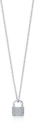 Tiffany & Co. City HardWear lock pendant in 18k white gold with diamonds