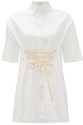White Story - Elle Lace-up Cotton-poplin Shirt - White