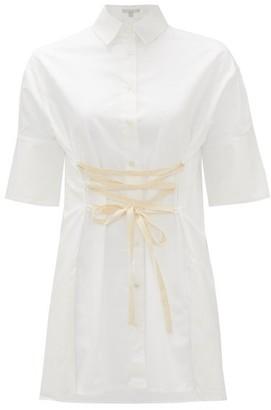 story. White Elle Lace-up Cotton-poplin Shirt - Womens - White