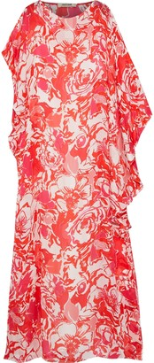 Roberto Cavalli Draped Printed Silk-voile Maxi Dress