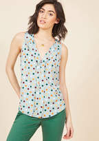 ModCloth Isle Be Seeing You Sleeveless Top in Dots in 2X - Regular Waist