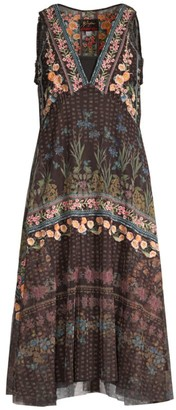 Johnny Was Vatusia Floral Embroidery Mesh Dress