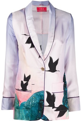F.R.S For Restless Sleepers Birds Print Blazer