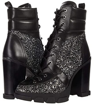 MICHAEL Michael Kors Ridley Lace-Up Bootie (Black/Silver) Women's Shoes