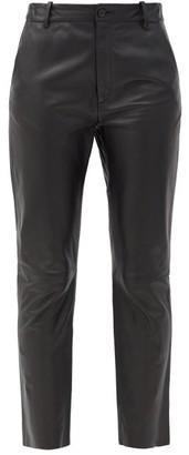 Nili Lotan Montauk Cropped Leather Slim-leg Trousers - Black