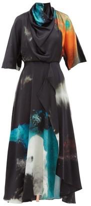 Roksanda Senja Draped Printed Silk-satin Maxi Dress - Black Print