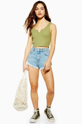 Topshop Womens Denim Kiri Shorts - Mid Stone