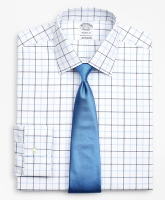 Brooks Brothers Stretch Regent Fitted Dress Shirt, Non-Iron Poplin Ainsley Collar Double-Grid Check