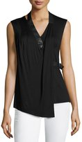 Bailey 44 Side-Tab Draped Sleeveless Top, Black