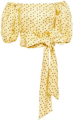 Shrimps Off-the-shoulder Bow-detailed Polka-dot Linen And Silk-blend Top