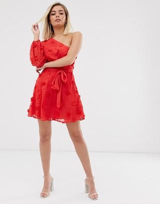 Talulah Scarlett asymmetric sleeve ruffle dress