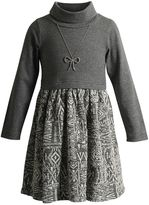 Youngland Girls 4-6x Cowlneck Sweater Dress with Necklace