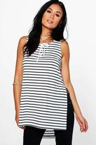 Boohoo Sarah Striped Longline Tunic