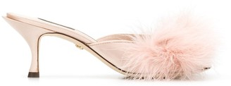 Dolce & Gabbana Faux-Feather Mules