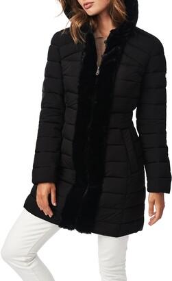 Bernardo Quilted Walker Jacket with Faux Fur Trim