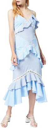 Three floor Luchia Striped Tiered Ruffle Midi Dress