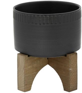 Flora Bunda Matte Black Dumpling Ceramic Planter on Wood Stand