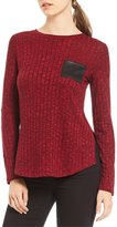 Jones New York Space-Dye Ribbed Knit Contrast Patch Long Sleeve Top