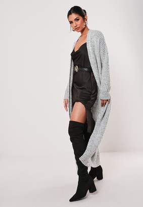 Missguided Grey Marl Pocket Front Knitted Maxi Cardigan