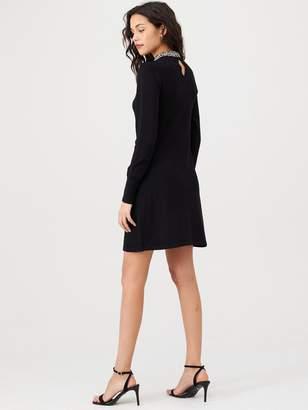 Warehouse Embellished High Neck Knitted Dress - Black
