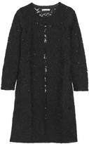 Oscar de la Renta Sequin-embellished Crocheted Wool-blend Coat - Black