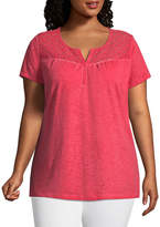 ST. JOHN'S BAY Short Sleeve Lace Garment Wash Tee - Plus