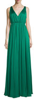 Halston Sleeveless Shirred Chiffon-Overlay Gown, Emerald