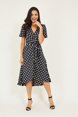 Yumi Black Polka Dot Asymmetric Dress