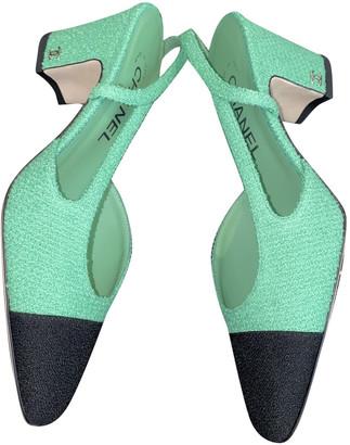 Chanel Slingback Green Tweed Heels